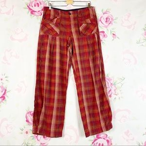 NEW Free People Birch Plaid Wide Leg Pants 12